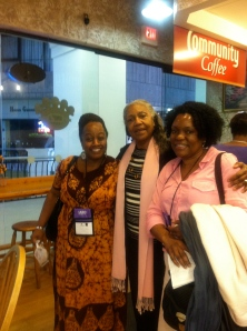 l. to r.: Judith Palmer, Chair of the board of the  London based Association of Dance of the African Diaspora; yours truly; and Mercy Nabirye, Director of ADAD. Internationals in the house!